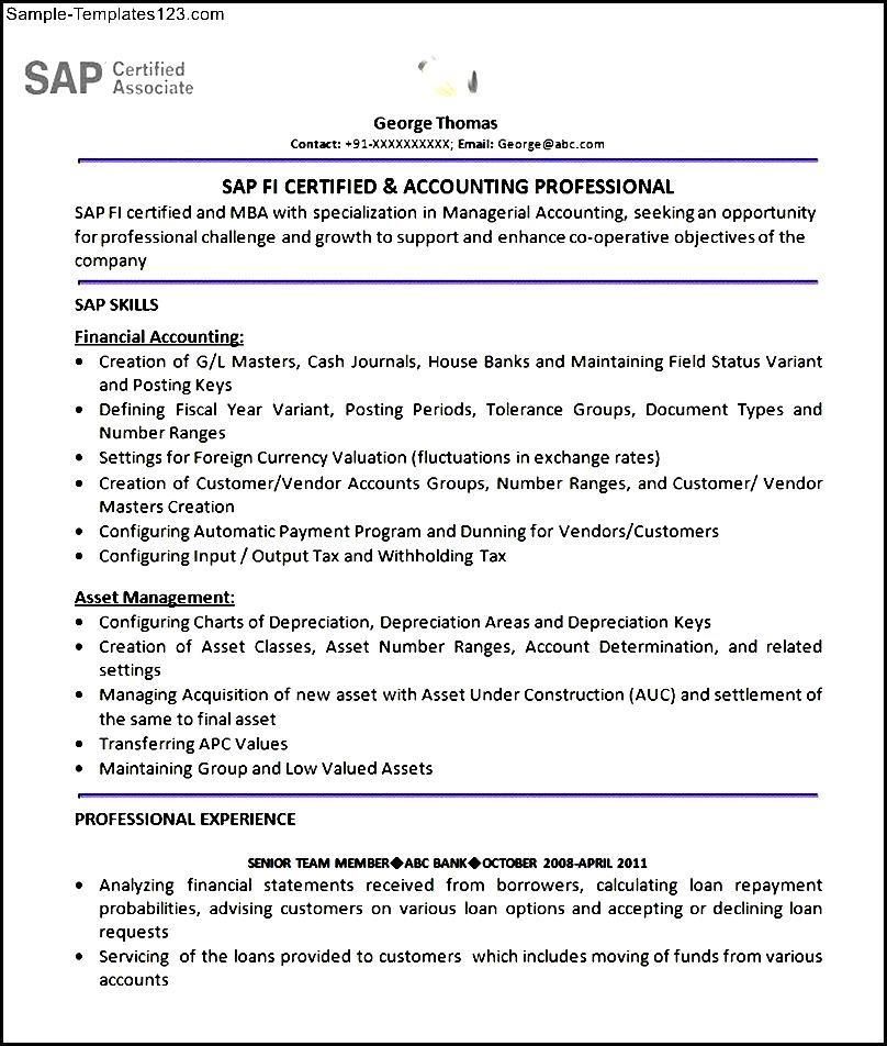 SAP FI Module Resume Format Template - Sample Templates - Sample