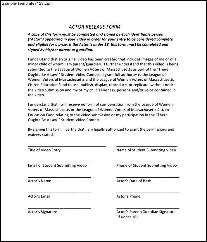 Sample Actor Release Form - Sample Templates - Sample Templates - actor release forms
