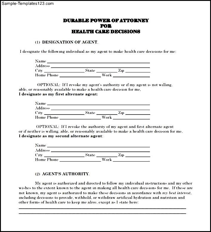Sample Advance Directive Form - Sample Templates - Sample Templates