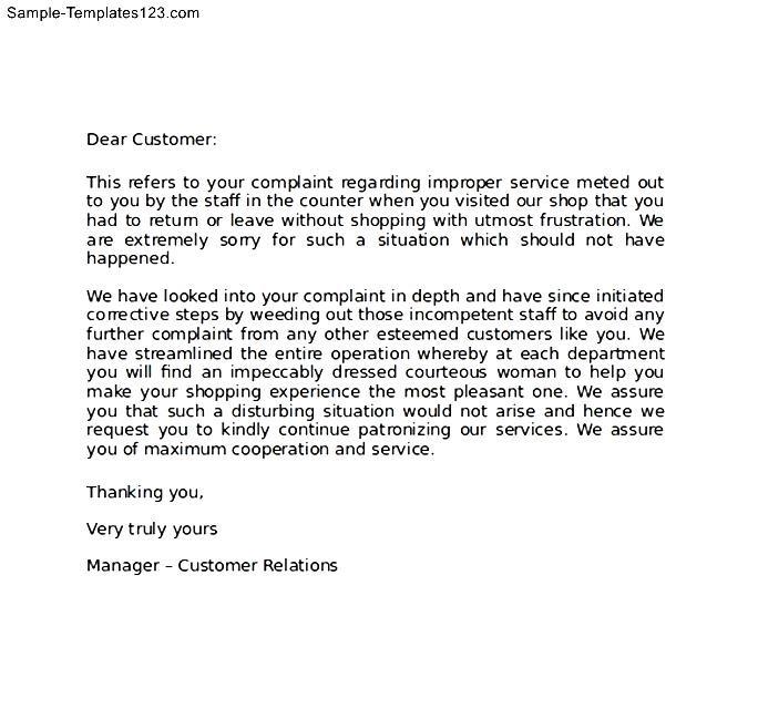 Sample Apology Letter to Customer for Error - Sample Templates