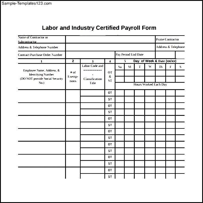 Sample Certified Payroll Form PDF Sample Templates - certified payroll form