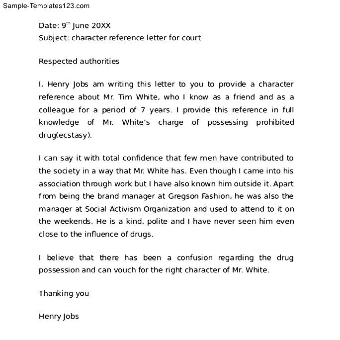 Sample Character Reference Letter for a Friend - Sample Templates