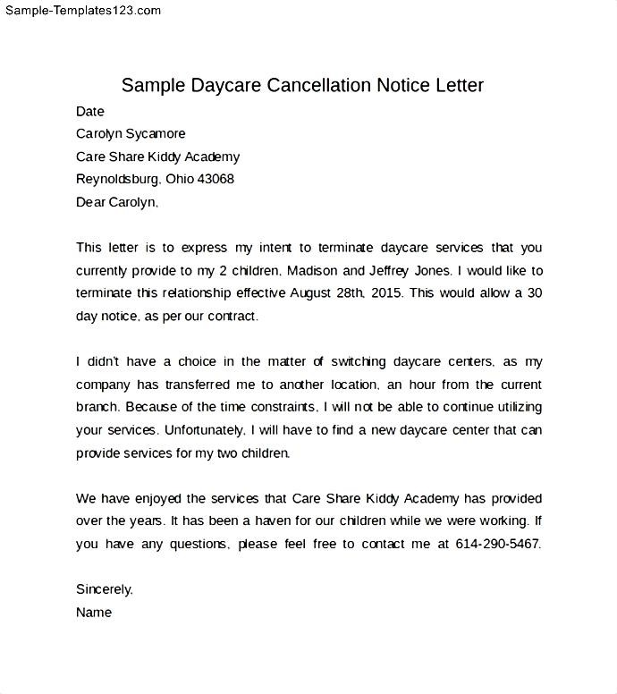 Free Professional Resume » withdraw child from school letter sample - sample letter to withdraw child from daycare