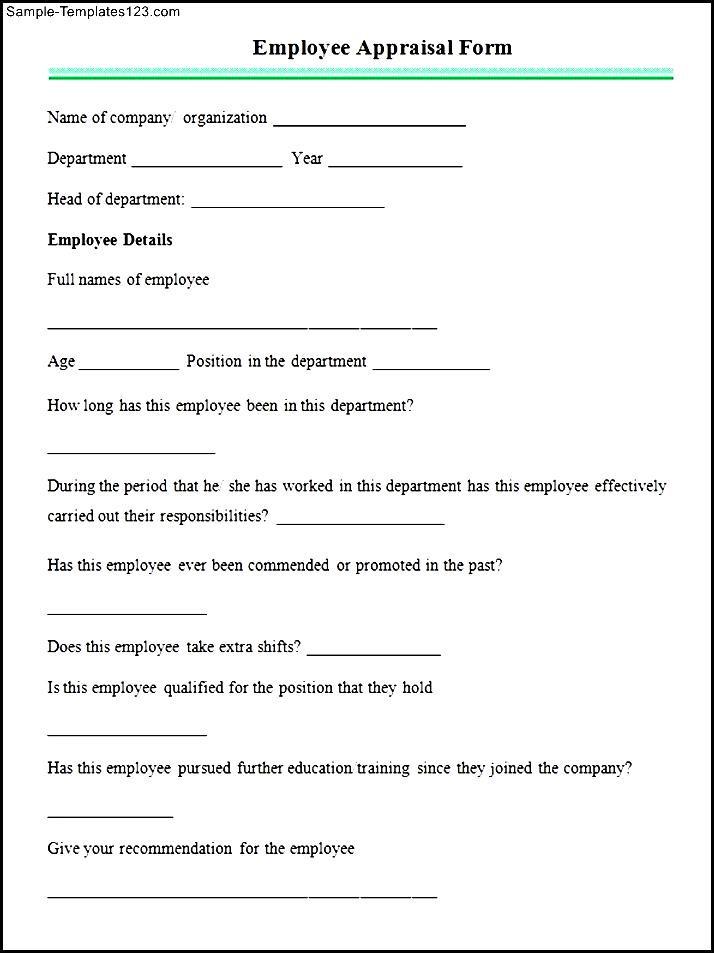 Sample Employee Appraisal Form - Sample Templates - Sample Templates
