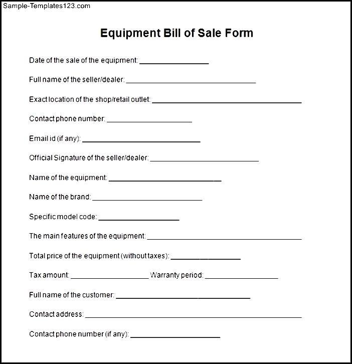 equipment bill of sale form free - Klisethegreaterchurch