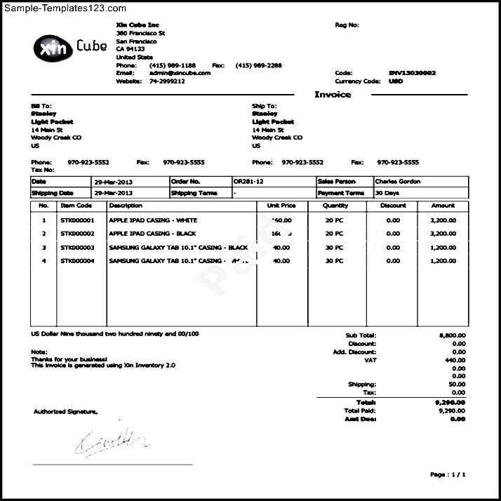 Sample Invoice PDF - Sample Templates - Sample Templates - sample invoice pdf