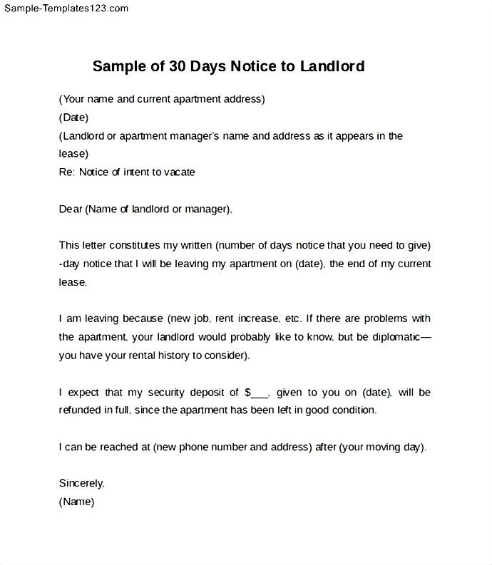 30 day notice to landlord sample - Minimfagency