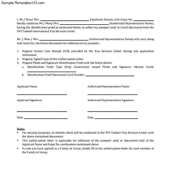 Sample Passport Authorization Letter - Sample Templates - Sample