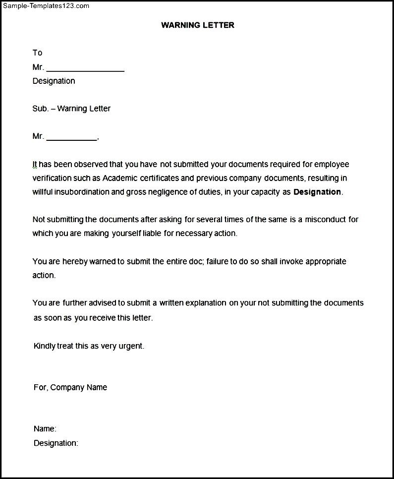 Free Professional Resume » sample disciplinary letter for