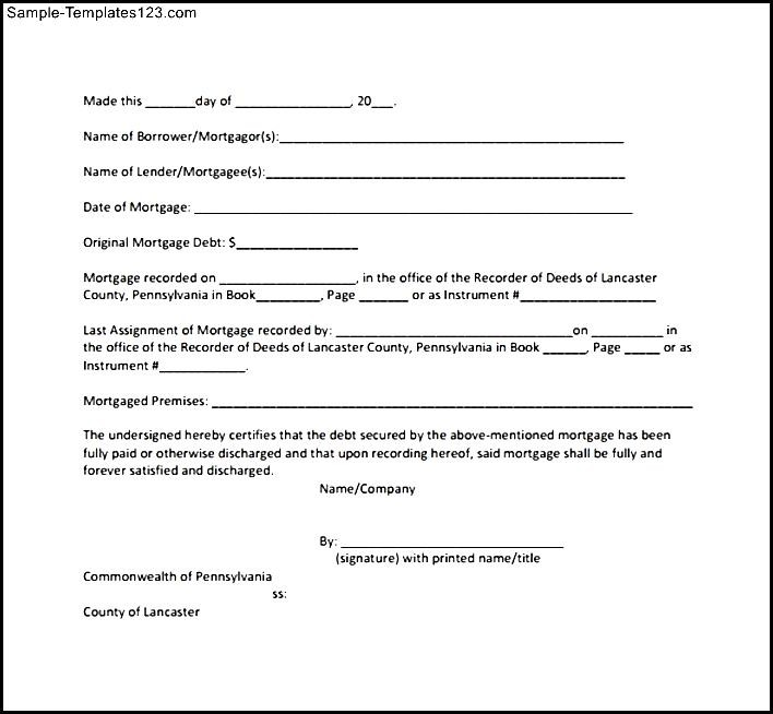 Legal Forms and Document Templates Free Download - dinosauriensinfo - satisfaction of mortgage form