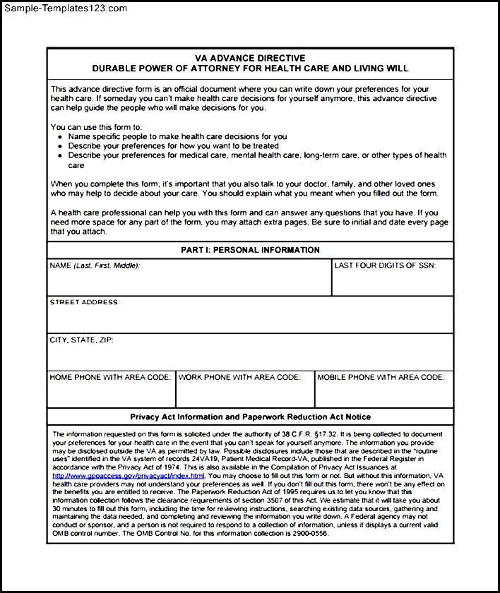 Simple Advance Directive Form - Sample Templates - Sample Templates