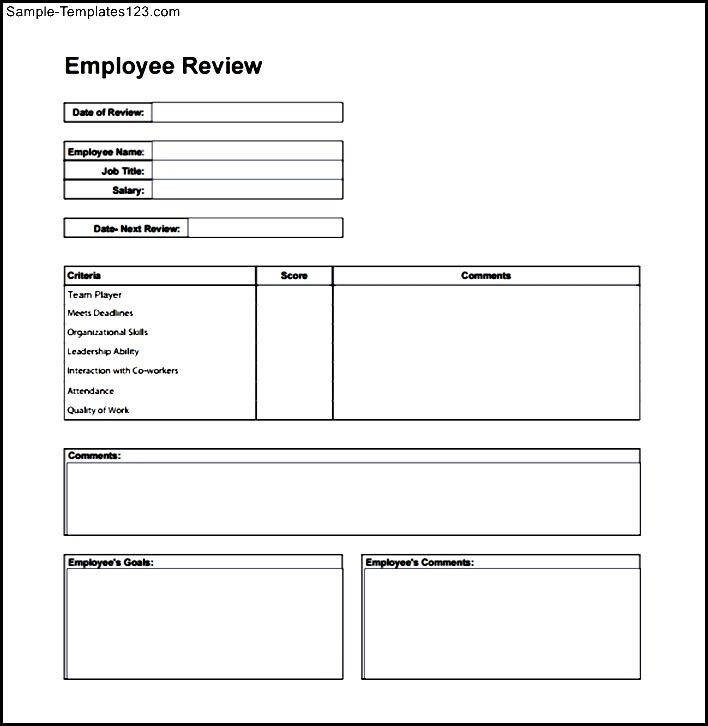Simple Employee Review Form - Sample Templates - Sample Templates