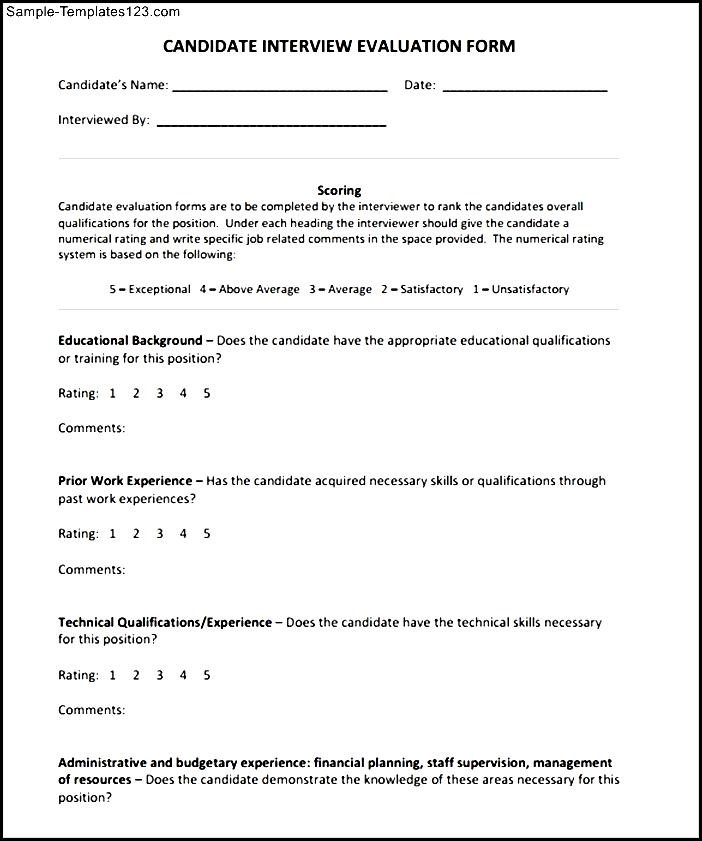 Simple Interview Evaluation Form - Sample Templates - Sample Templates - Sample Interview Evaluation Comments