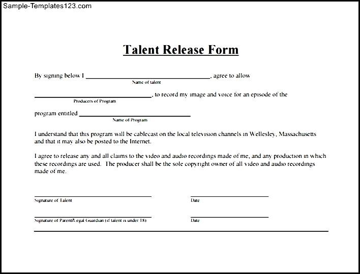 Simple Talent Release Form - Sample Templates - Sample Templates - Talent Release Form Template