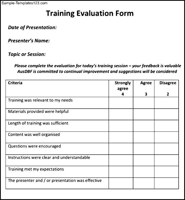 Fancy Training Evaluation Form Templates Free Sketch - Resume Ideas