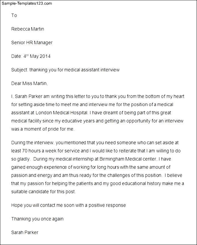 Thank You Letter After Interview For Medical Assistant Position