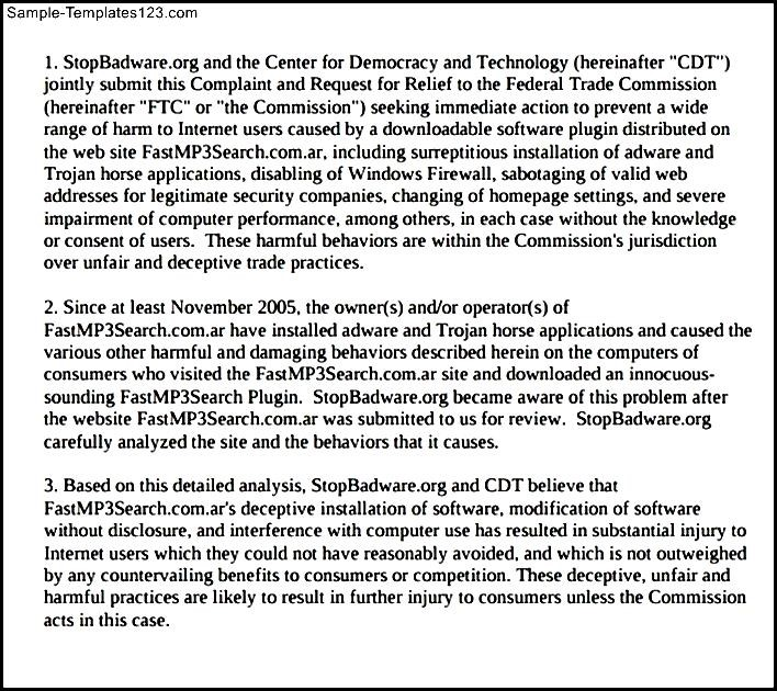 Ftcgov Complaint Form image information