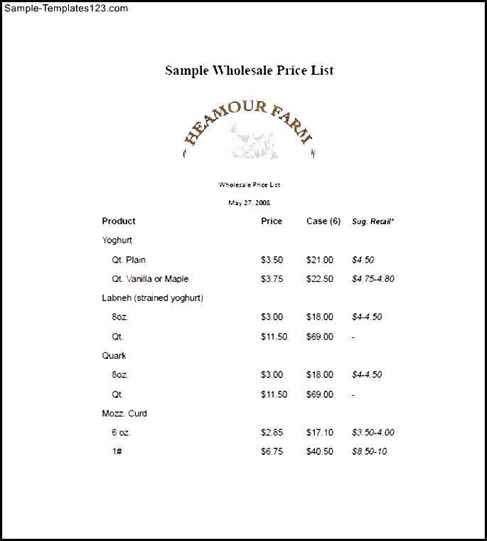 Wholesale Price List Template Free - Sample Templates - Sample Templates