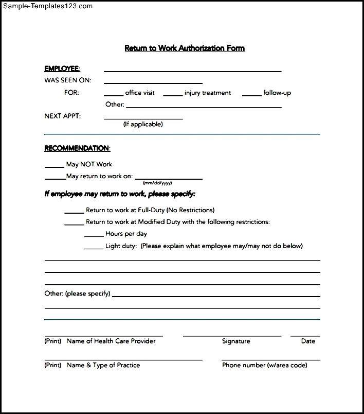 Work Authorization Form Example - Sample Templates - Sample Templates - Work Authorization Form