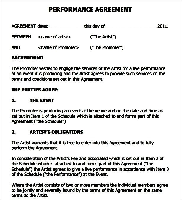 Performance Contract Templates concert performance agreement - performance contract templates