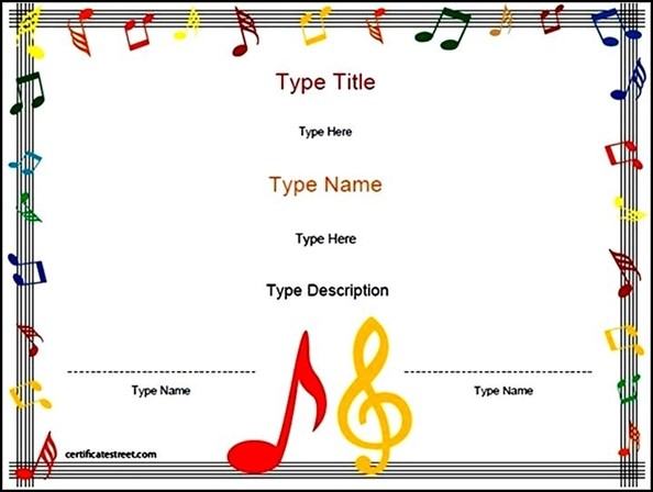Blank Music Certificate Template Download - Sample Templates