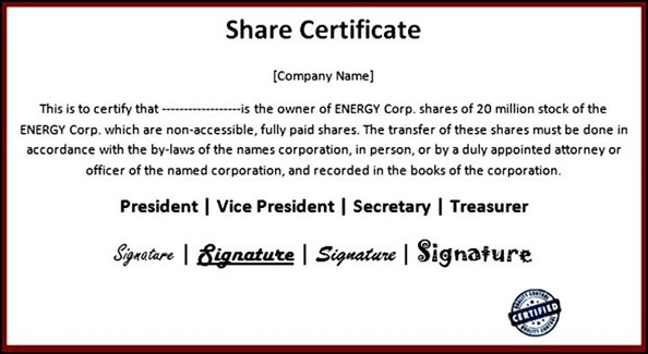 Example Of Share Certificate - Fiveoutsiders
