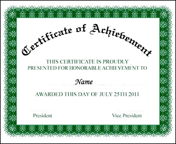 Outstanding Performance Award Certificate Achievement Special