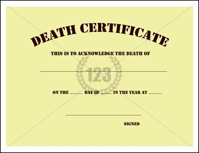 Death Certificate Template PDF - Sample Templates - Sample Templates