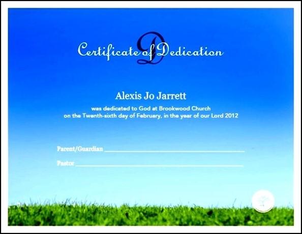 Free Baby Dedication Certificate Template - Sample Templates