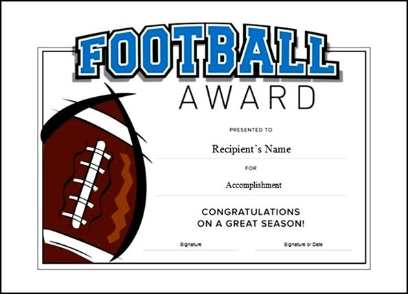 Printable Football Award Certificate Template Free - Sample - football certificate template