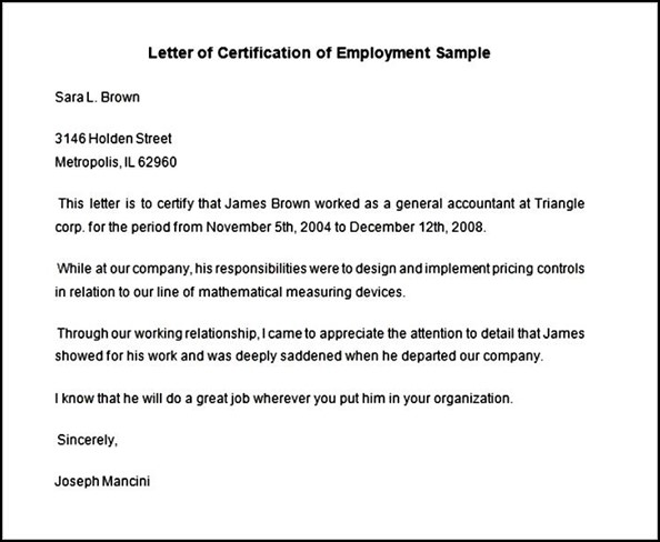 Employment Certificate Sample - Fiveoutsiders - work certificate template letter