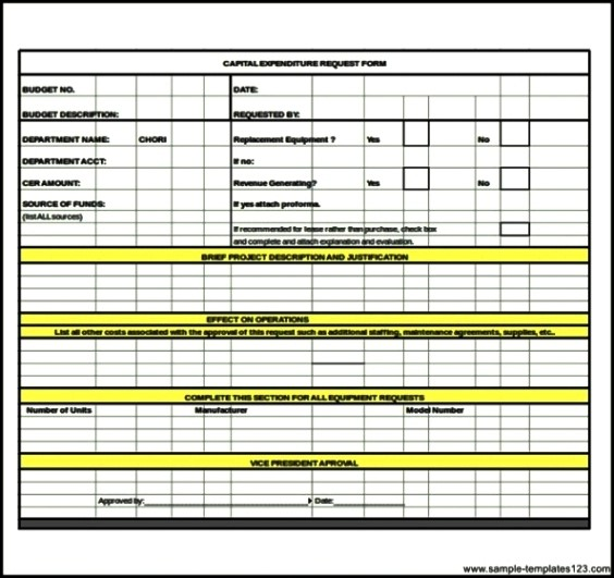 Capital Expenditure Budget Request Form Excel - Sample Templates
