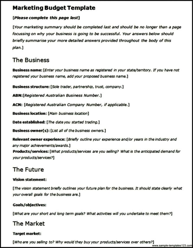 Sample Marketing Budget Template - Sample Templates - Sample Templates
