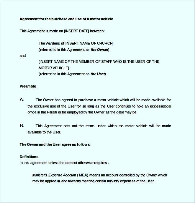 Vehicle Purchase Agreement Letter - Sample Templates - Sample Templates