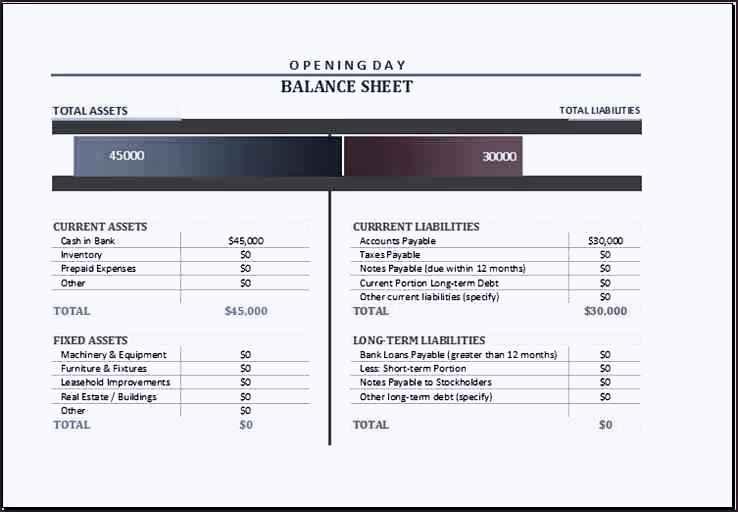 Opening Balance Sheet Template - Costumepartyrun