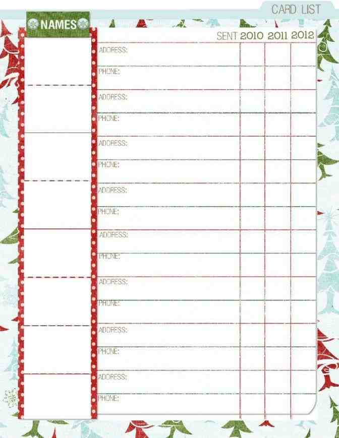Best Top 5 Free Christmas Card List Templates - Sample Templates