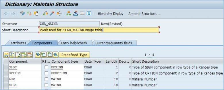 SAP Range Table Example
