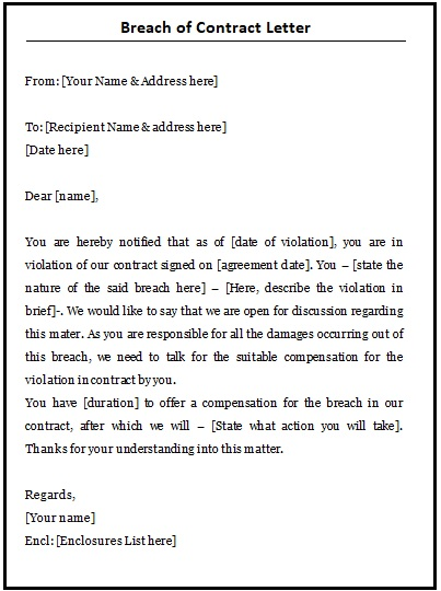Breach of Contract Template 2+ Printable Word and PDF Formats - contract templates word