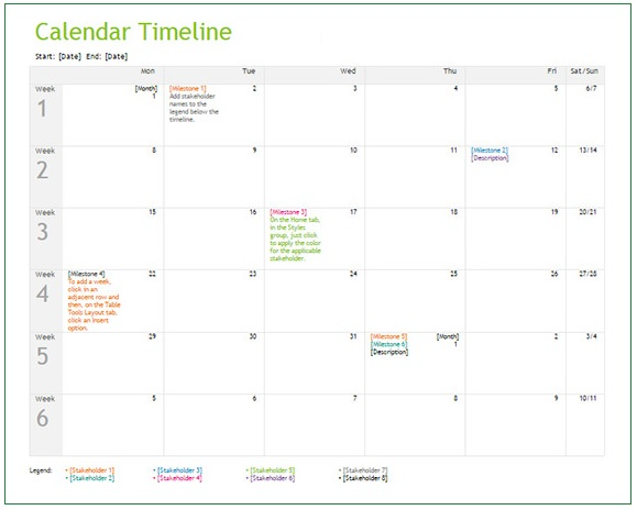Calendar Timeline Templates 4+ Free Word, Excel  PDF - calendar timeline template