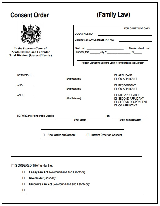 Consent Order Form Best Consent Order Templates Images On Pinterest