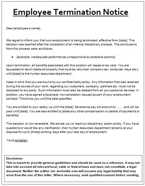 Employee Termination Notice Templates 4+ Free Word  PDF - employee notice