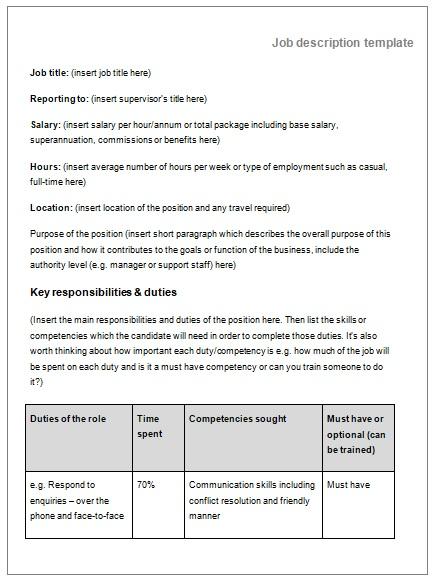 Job Description Templates 10+ Printable PDF  Word Formats - job description template word