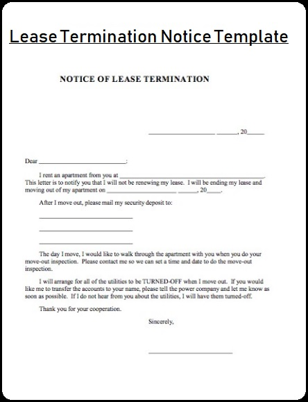 Lease Termination Notice Templates 4+ Free Word  PDF - lease termination notice sample