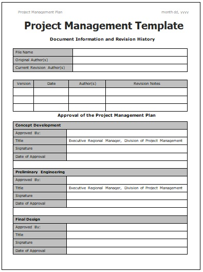 Project Management Templates 4+ Free Printable Word  PDF Formats