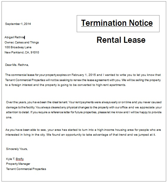 Rental Termination Notice Templates 4+ Free Word, Excel  PDF