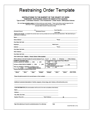 2+ Restraining Order Templates Free Printable Word  Excel
