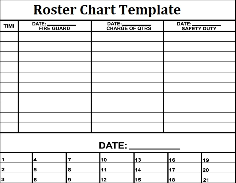 3+ Roster Chart Templates Free Printable Word, Excel  PDF