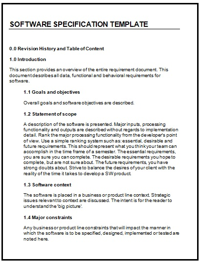 Software Specification Templates 2+ Free Word, Excel  PDF