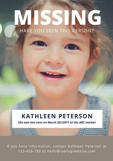 11+ Missing Person Poster Templates Free Printable Word  PDF - missing person template