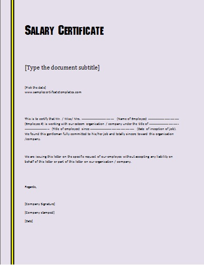 salary certificate sample doc and certification letter format cute